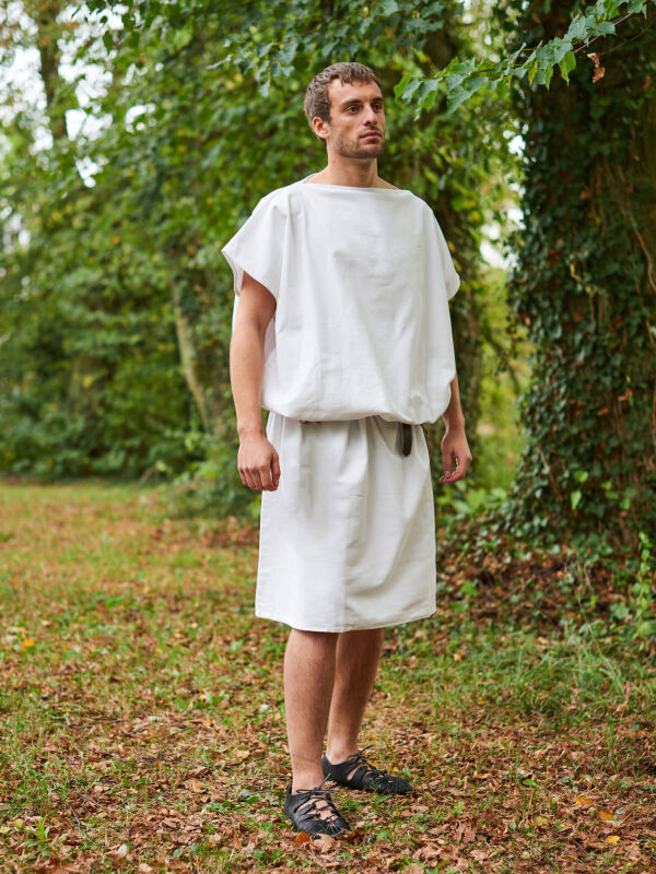 Roman tunic short-sleeved cream for LARP Middle Ages,...