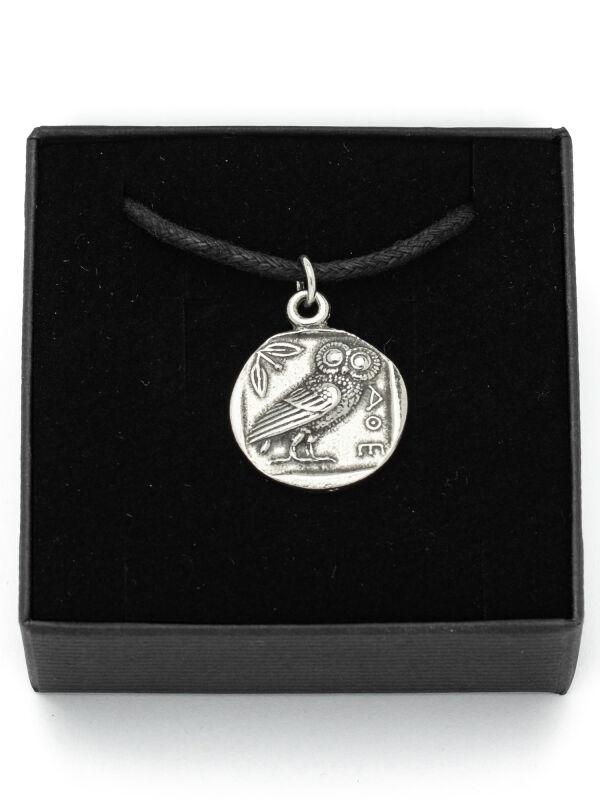 Eule Griechischer Münz Anhänger Aus Zinn Gefertigt Der Römer Shop
