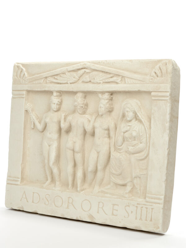 Relief The three Graces, ad sorores, ancient Roman wall decoration