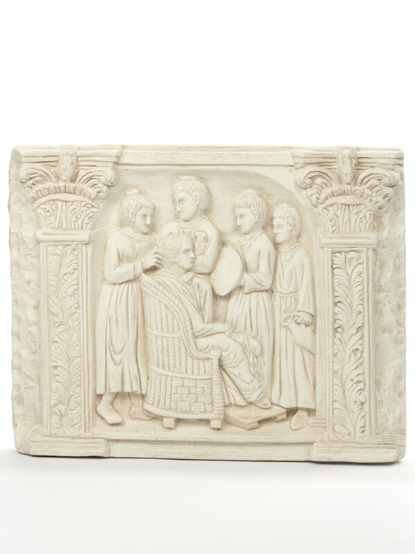 Relief hairdressing scene with roman housekeeper, antique roman wall decoration