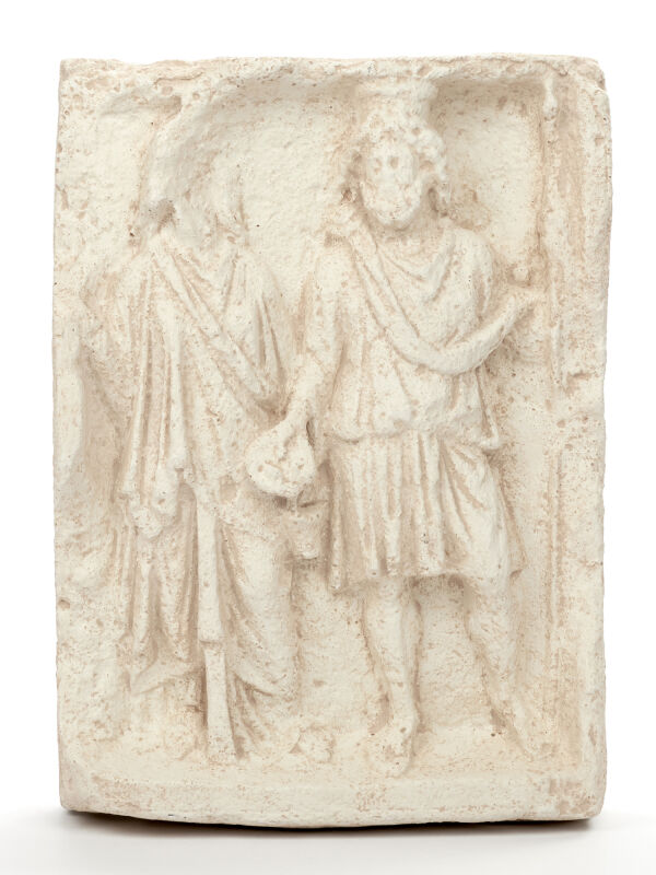 Relief Isis & Serapis, light patina, 29x20cm, roman...
