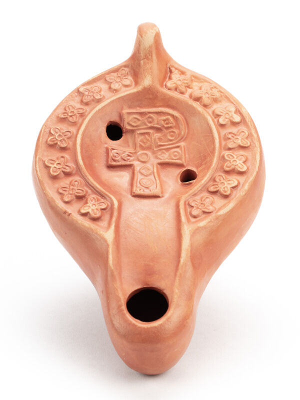 Oil Lamp with Chi Rho Symbol