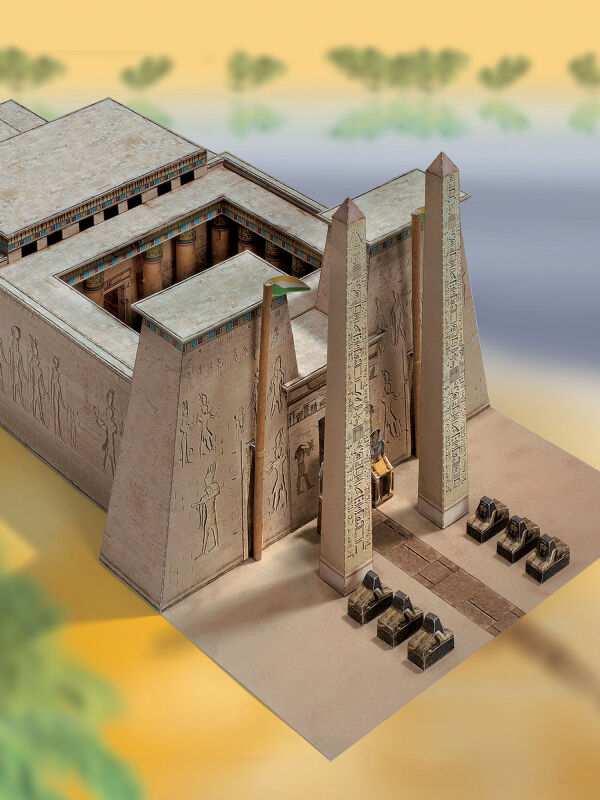 Scribes sheet, Egyptian temple, cardboard model making