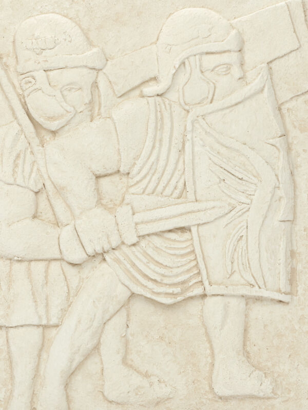 Relief legionnaire mural, legionnaires with helmet, museum replica, antique roman wall decoration