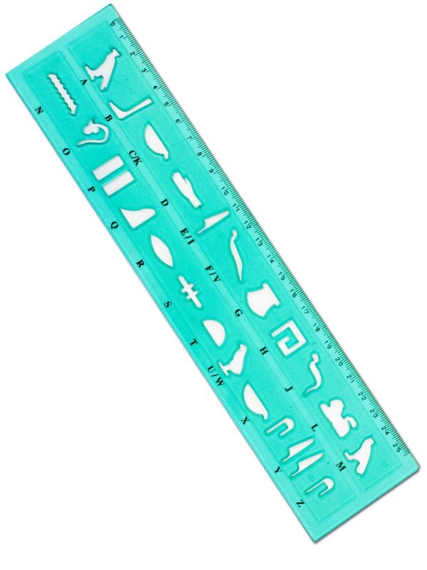 Hieroglyphic writing template = ruler - 4 pieces set