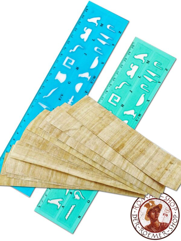 Hieroglyphic stencil & ruler + 10x papyrus bookmarks