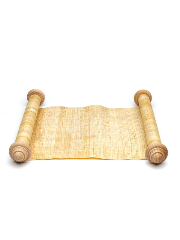 Papyrus scroll blanc with two wooden rods 100x30cm