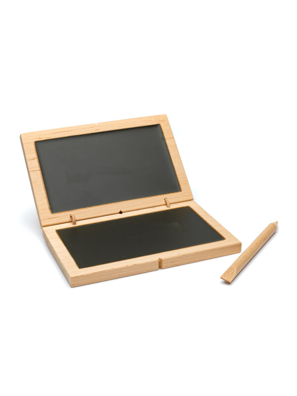 Wax tablet 14x9cm, diptych Victoria, black double writing tablet with wooden pen, Roman medieval Viking reenactment