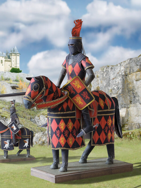 Knight with spear at a tournament handicraft pattern
