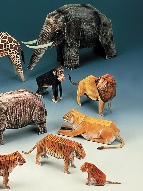 Writer sheet, animals for Noahs Ark 12 pieces, cardboard model making