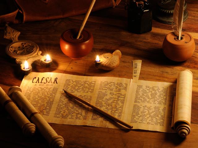Papyrusrollen aus dem Römer Shop
